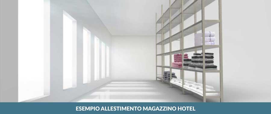 esempio allestimento magazzino hotel ambientazione Euroscaffale