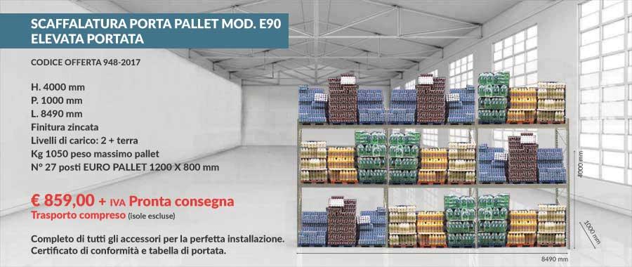 offerta euroscaffale a prezzo di fabbrica per scaffali portapallet con 27 euro-pallet 800x1200 mm da 1050 Kg composto da 2 livelli più terra