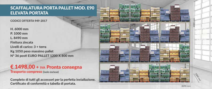 offerta euroscaffale a prezzo di fabbrica per scaffali portapallet con 36 euro-pallet 800x1200 mm da 1050 Kg composto da 3 livelli più terra