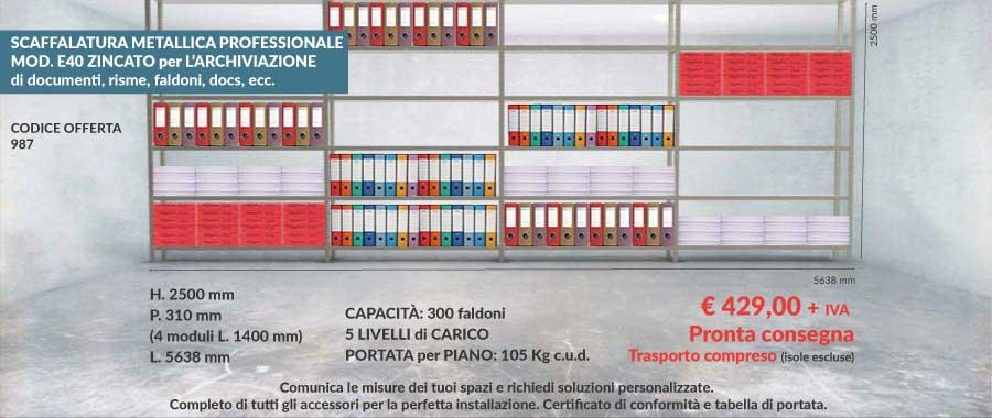 Offerta scaffalIi metallici per archiviazione 987 con capacità di 300 faldoni modello E40 euroscaffale
