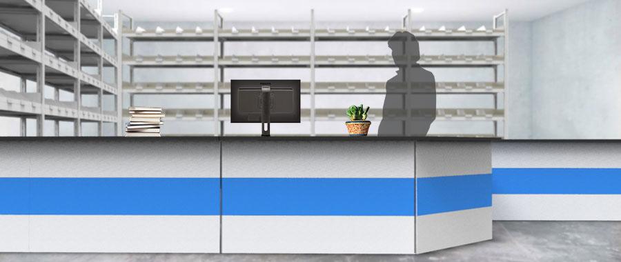 Banchi vendita ambientazione colore blu magazzino frontale Euroscaffale 02