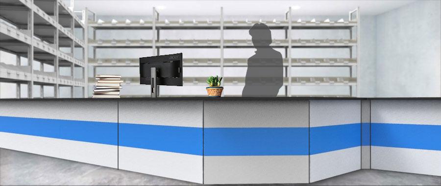 Banchi vendita ambientazione colore blu magazzino frontale Euroscaffale