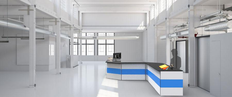 Banchi vendita ambientazione colore blu magazzino laterale Euroscaffale