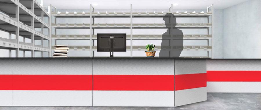 Banchi vendita ambientazione colore rosso magazzino frontale Euroscaffale 02