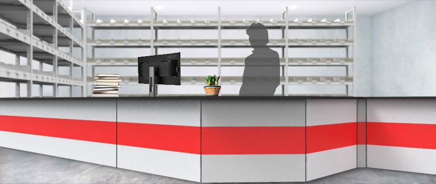 Banchi vendita ambientazione colore rosso magazzino frontale Euroscaffale