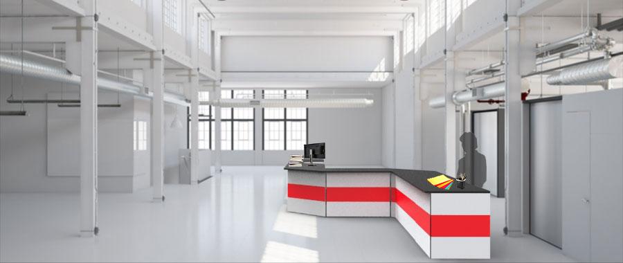 Banchi vendita ambientazione colore rosso magazzino laterale Euroscaffale