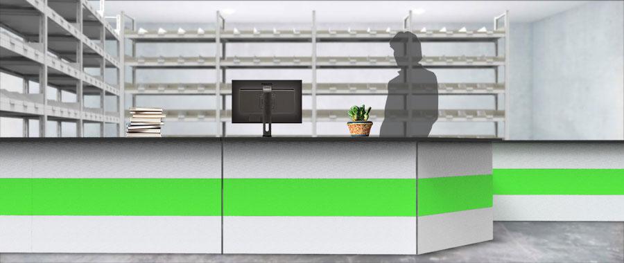Banchi vendita ambientazione colore verde magazzino frontale Euroscaffale 02