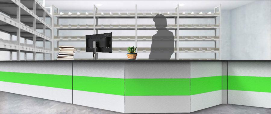 Banchi vendita ambientazione colore verde magazzino frontale Euroscaffale