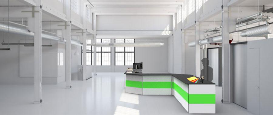 Banchi vendita ambientazione colore verde magazzino laterale Euroscaffale