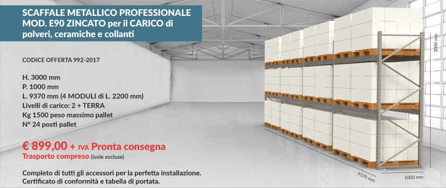 offerta scaffali metallici 992-2017 da 24 posti pallet per polveri ceramiche e collanti  modello E90 euroscaffale