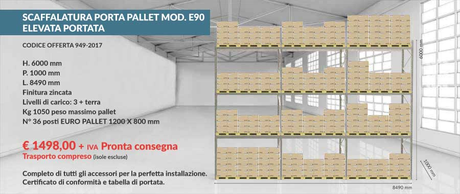 offerta prezzi di fabbrica scaffalatura industriale per 36 euro pallet 800x1200 mm da 1050 Kg composto da 1 livello più terra modello E90 euroscaffale
