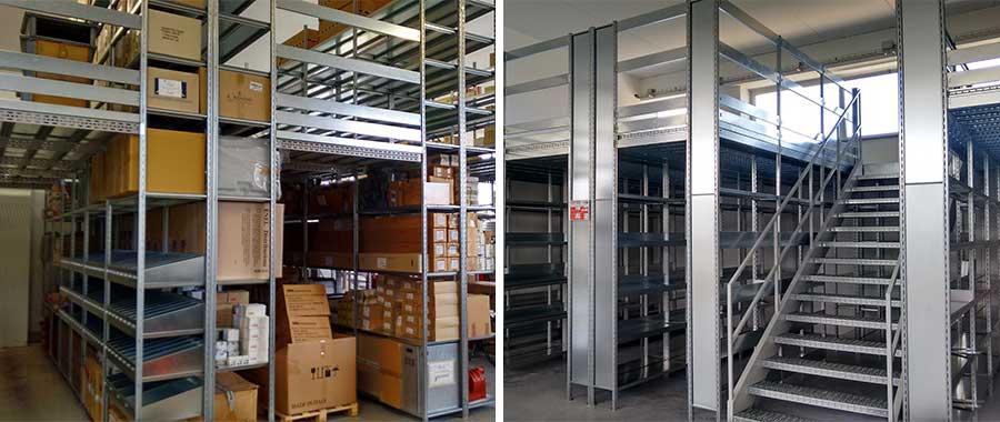 Soppalchi metallici per magazzini multipiano