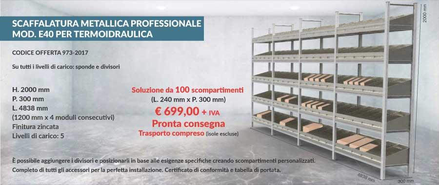 offerta scaffalatura metallica per termoidraulica con 100 scompartimenti modello E40 euroscaffale