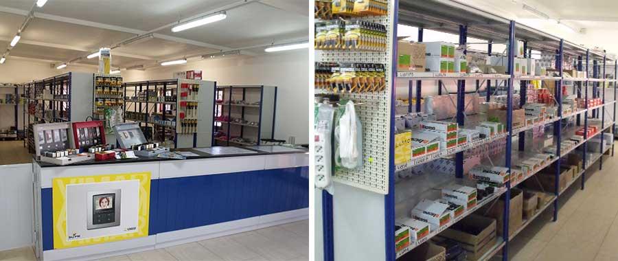 scaffalature e banco vendita negozio settore elettrico
