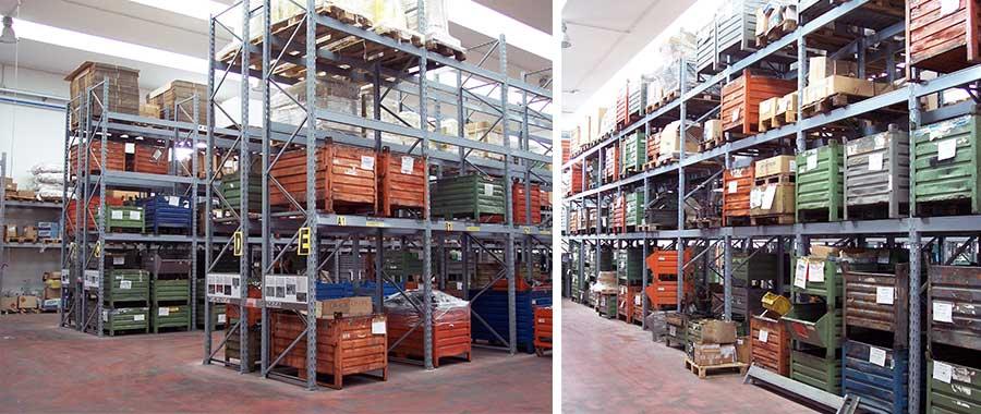 scaffalature settore meccanica porta pallets contenitori