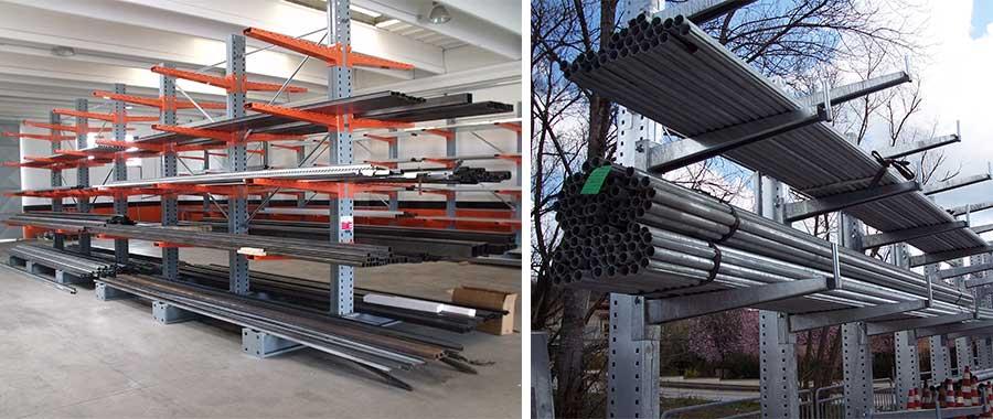 scaffalature cantilever barre e tubi materiale meccanico