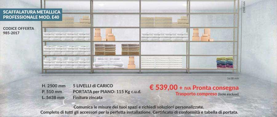 offerta scaffali metallici n° 985 per settore tessile e hotel con 5 livelli di carico lunghezza 5638 mm modello E40 euroscaffale