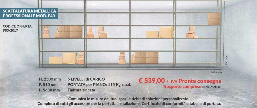 offerta n° 985 per scaffali metallici con 5 livelli di carico per mobilifici e grossisti modello E40 euroscaffale