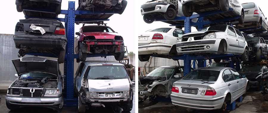 scaffale cantilever porta auto bifronte per 6 posti auto modello 3BL euroscaffale