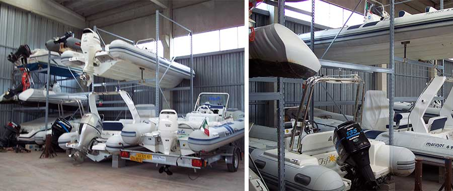Scaffali porta barche rimessaggio