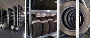 allestimento magazzino con scaffale porta pneumatici modello E40 euroscaffale