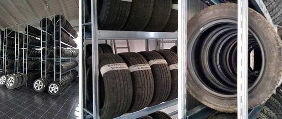 Scaffale porta pneumatici