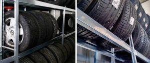 particolare scaffale pneumatici per il carico di pneumatici montati su cerchi modello E40 euroscaffale