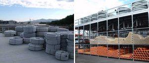 porta tubi e corrugati edilizia soluzione con soppalco Euroscaffale