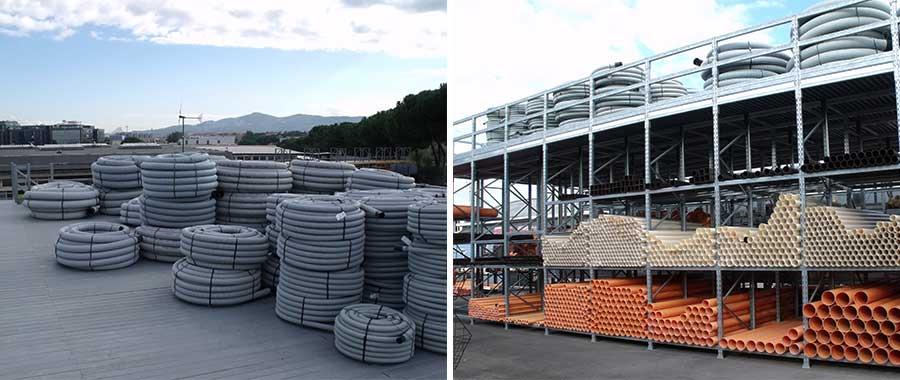 portapallet edilizia soluzione a soppalco con pavimento in grigliato chiuso per tubi e corrugati modello E90 euroscaffale