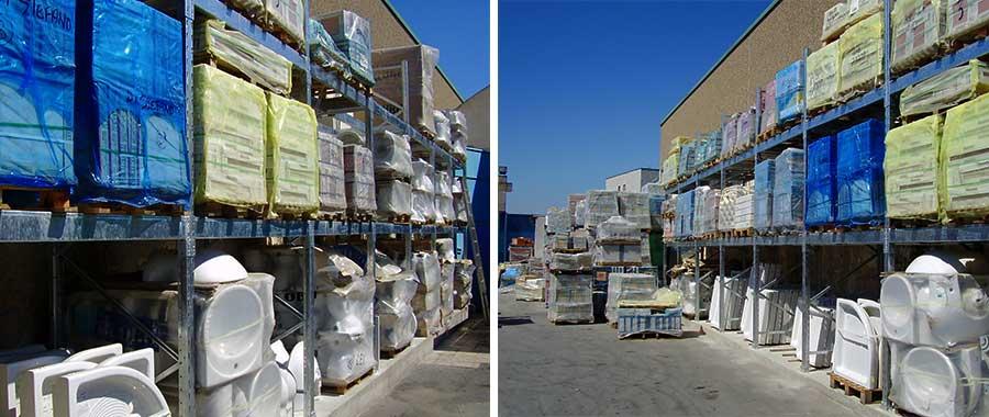 scaffali portapallet settore edile zincato a caldo ad uso esterno per ceramiche e sanitari modello E90 euroscaffale