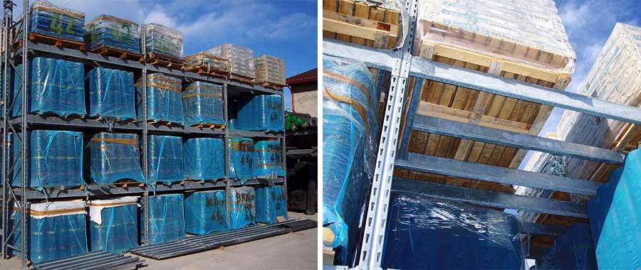 scaffalature metalliche portapallet edilizia per guaine con trave centrale modello E90 euroscaffale