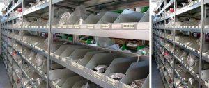 scaffalature ad incastro per ricambi elettrodomestici accessoriata con sponde e divisori modello E40 euroscaffale