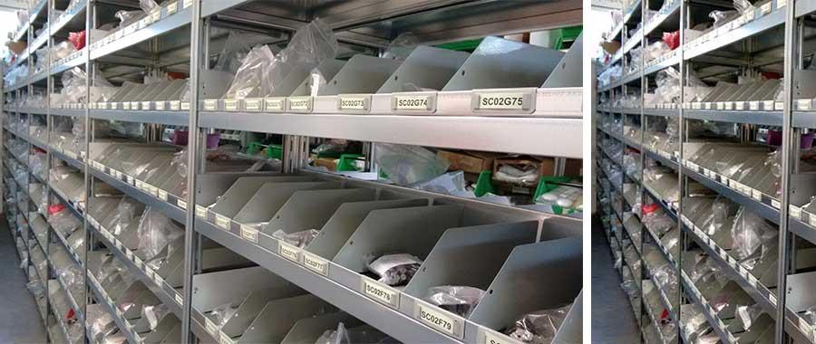 scaffalature ad incastro per ricambi elettrodomestici con sponde e divisori modello E40 euroscaffale