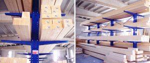 scaffalatura cantilever porta lamellare tavole e pannelli Euroscaffale 001