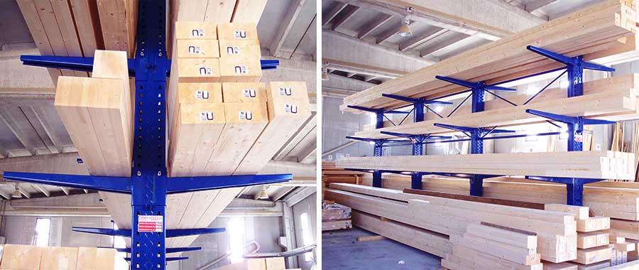 scaffalatura cantilever con finitura verniciata porta travi lamellare da 13,5 mt euroscaffale