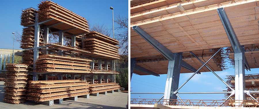 scaffalatura cantilever edilizia con finitura zincata per tralicci e travette precompresse euroscaffale