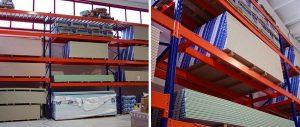 scaffali industriali settore edile per pannelli di cartongesso con particolare trave centrale modello E90 euroscaffale
