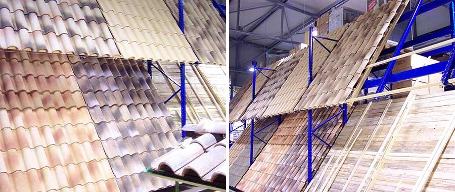 scaffali metallici edilizia con particolare piano inclinato per esposizione tegole e coperture modello E90 euroscaffale