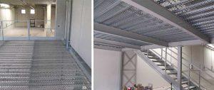 piano calpestio in grigliato forato dei soppalchi in carpenteria per magazzini industriali Euroscaffale