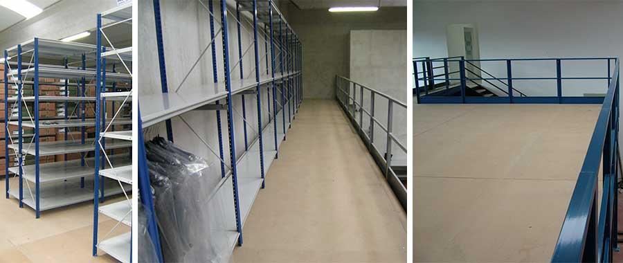 Soppalchi metallici con superficie calpestabile per magazzino