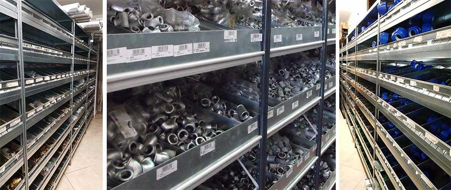 scaffali magazzino per ricambi termo idraulica con sponde e divisori trapezoidali modello E40 euroscaffale