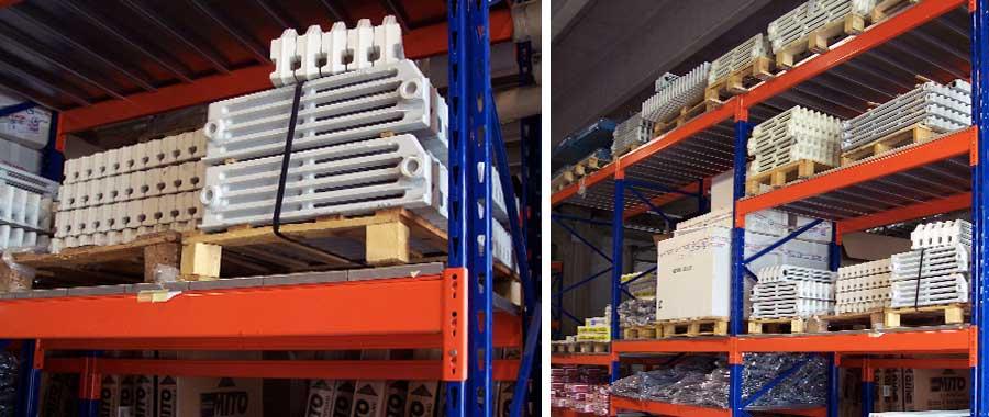scaffali porta pallet con pianetti per lo stoccaggio di articoli lpersanti per la termoidraulica modello E90 euroscaffale