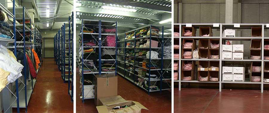 scaffali magazzino per abbigliamento con abiti stesi e appesi modello E40 euroscaffale