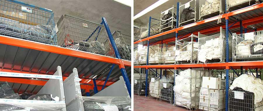 scaffali industriali per cesti di lavanderie con pianetti di chiusura dei livelli di carico modello E90 euroscaffale