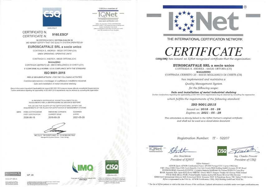 Euroscaffale azienda certificata iso 9001 2015