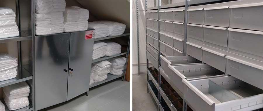 Piani con divisori e cassetti metallici