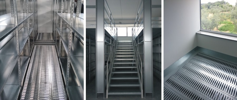 particolare scala e finitura della passerella di camminamento per scaffali metallici modello E40 euroscaffale