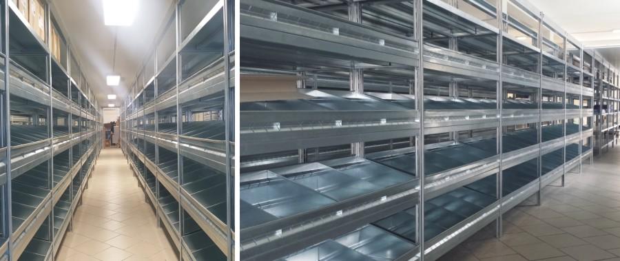scaffali metallici per allestimento punto vendita per termoidraulica con sponde e divisori modello E40 euroscaffale