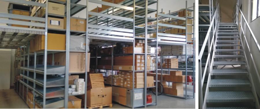 scaffalatura industriale per allestimento magazzino settore elettrico con passerella per il camminamento superiore modello E40 euroscaffale