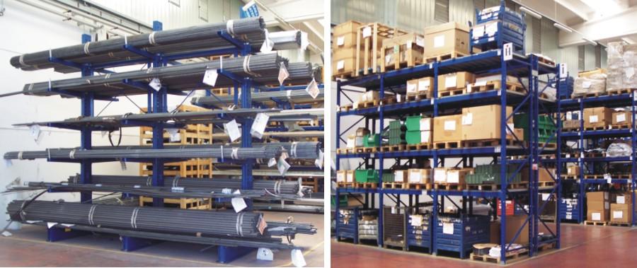 allestimento magazzino per settore meccanica con cantilever bifronte verniciati e portapallet modello E90 euroscaffale